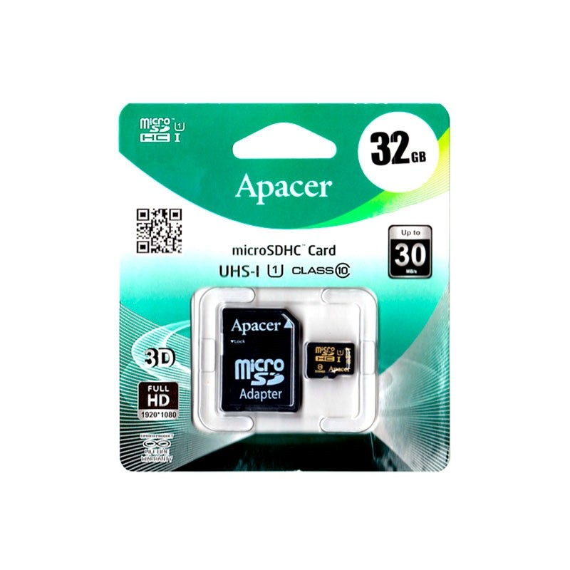 APACER Micro SD 32Gb UHS-I class10 + adapter (шт.)