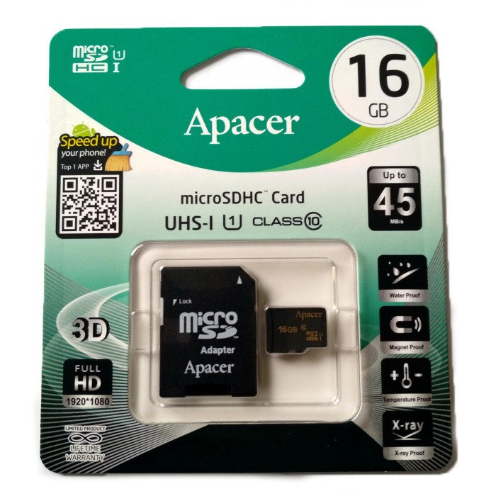 APACER Micro SD 16Gb UHS-I class10 (шт.)